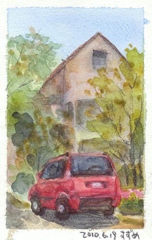 赤い車のある家.jpg