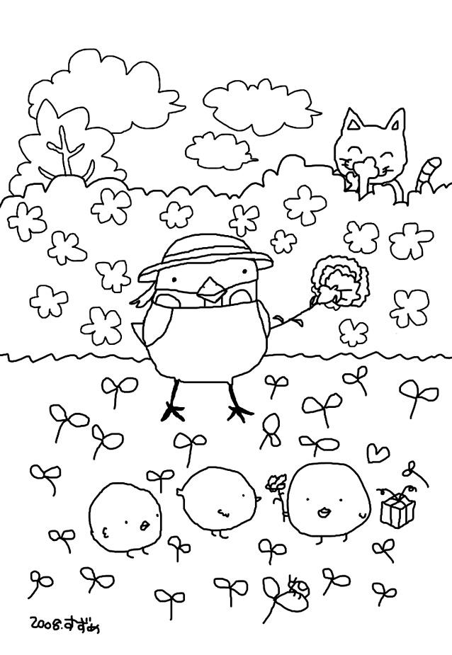 ぬり絵 スズメちゃんとヒヨコお絵描きすずめso Net Blog